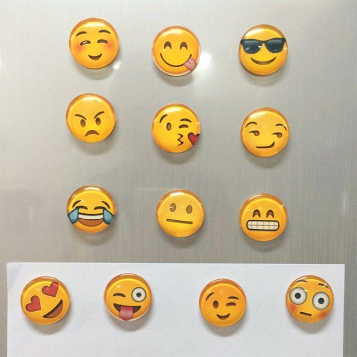 1 pcs Lucu Emoji Emoji Kulkas Magnet Putaran Kartun Senyum wajah Kaca Kulkas Kulkas Stiker Mainan 13 jenis untuk memilih Magnet