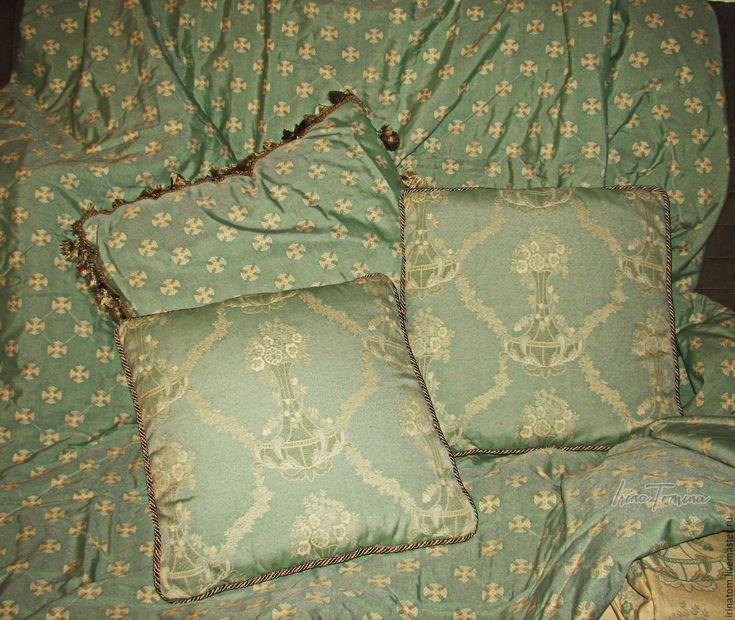 Купить Комплект диванных подушек из жаккардовой ткани - салатовый, подушки диванные, убранство комнаты