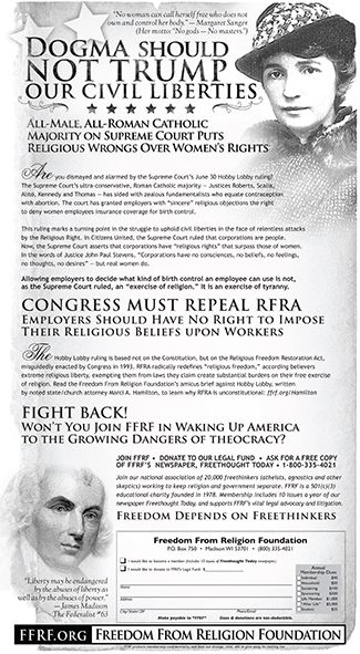 FFRF's full-page ad in New York Times to protest Hobby Lobby ruling - See more at: http://ffrf.org/news/news-releases/item/20870-ffrf-s-full-page-ad-in-new-york-times-to-protest-hobby-lobby-ruling#sthash.5eRf8Fjc.BV37ULPT.dpuf