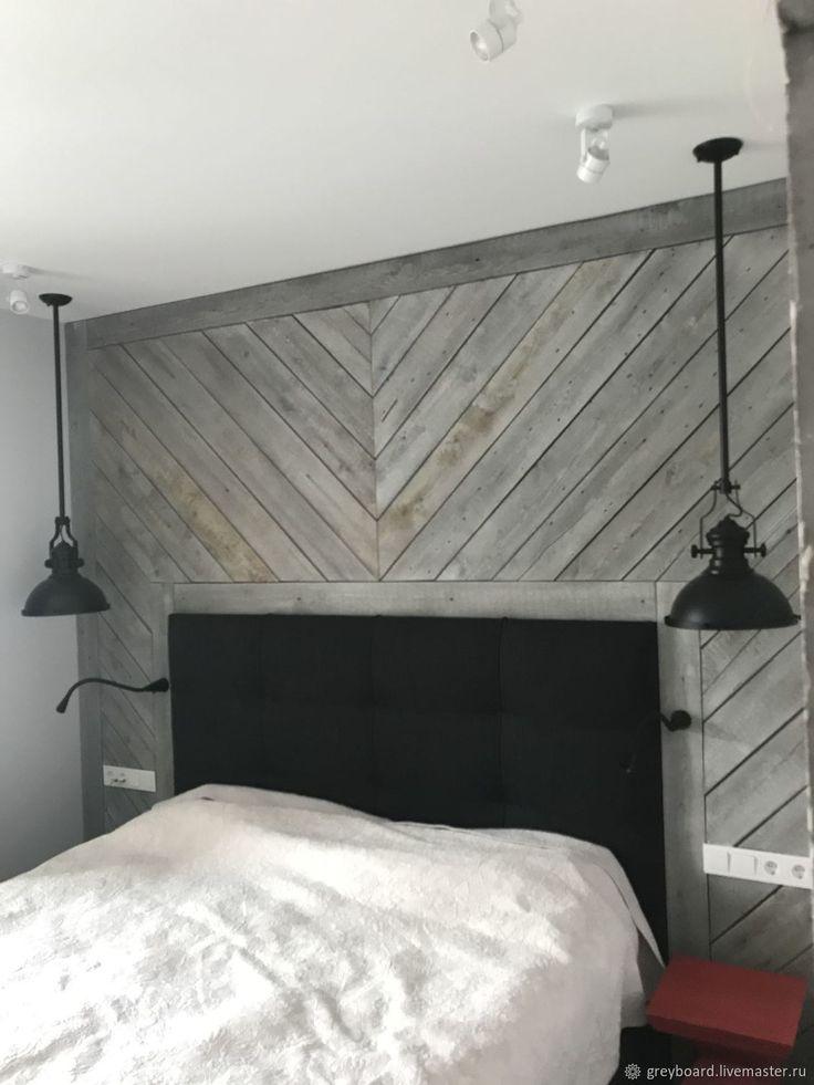 Купить Панно в изголовье кровати из старых серых досок - комбинированный, амбарная доска, старые доски