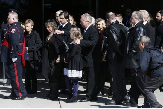 """Rob Ford's daughter tells funeral he's 'the mayor of heaven now.''  """"I'm going to miss you like crazy,"""" says Doug Ford at the funeral for former the Toronto mayor  (Toronto Star 30 March 2016)"""