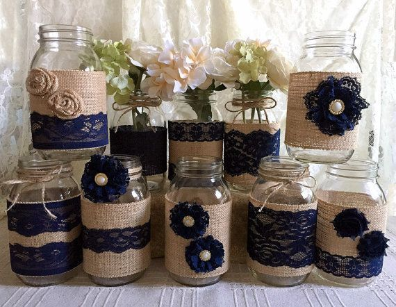 rustic burlap and navy blue lace covered mason jar vases wedding decoration