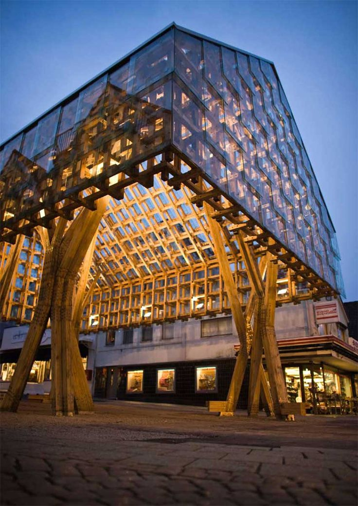 """Norwegian Wood Roof Lantern"" Pavillion and public space - Langgata, Sandnes, Norway. Architect: AWP"