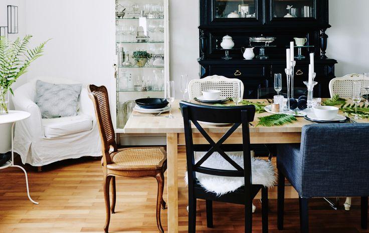 La sala da pranzo rilassante e piacevole di Mona con un originale centrotavola - IKEA