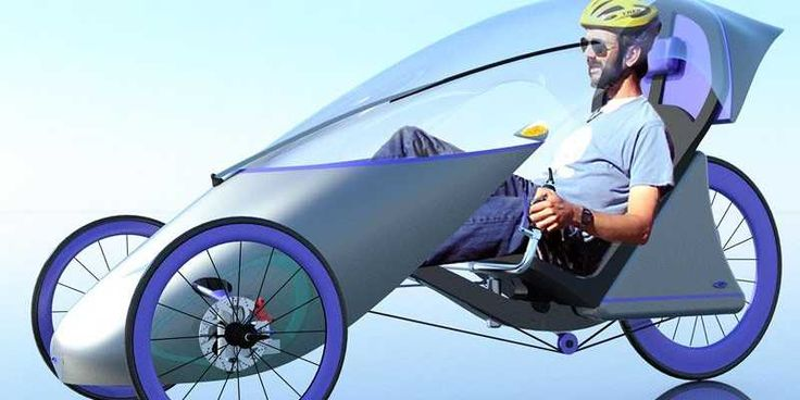 A British industrial design student designed this – a recumbent trike with a windshield, far more and comfortable for a longer commute.