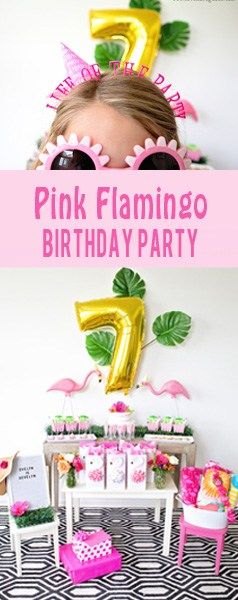 Girly Pink Flamingo Birthday Party - tropical pool party for girls with DIY tutorials for easy Flamingo Favor bags and bow napkin rings #ad #BirthdaysMadeBrighter