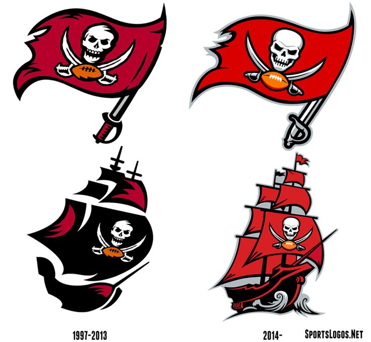the new and old Tampa Bay Buccaneers logos
