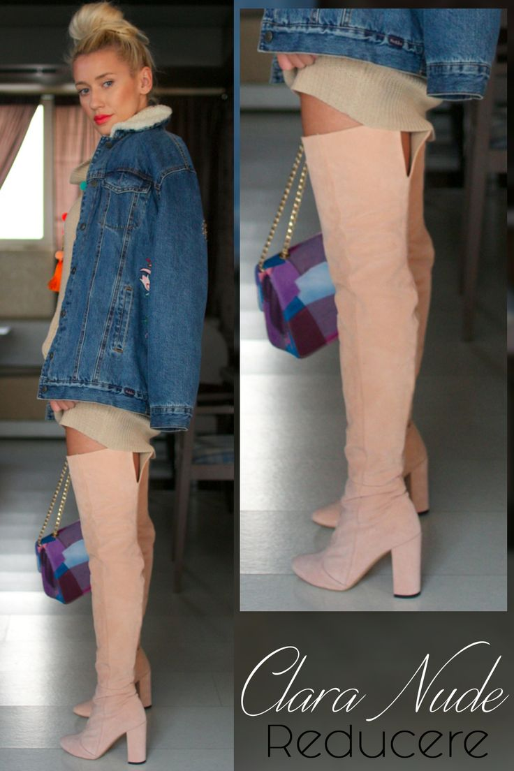 Made of suede, the nude Clara over the knee boots are practical, comfortable and extremely chic @j