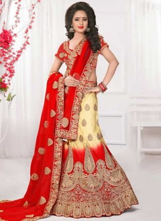 Red Beige Embroidery Work Net Silk Fancy Designer Wedding Lehenga Choli http://www.angelnx.com/Lehenga-Choli/Designer-Lehenga-Choli