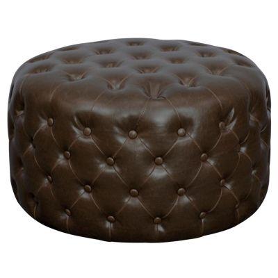 Lulu Round Tufted Bonded Leather Ottoman Vintage Dark Brown