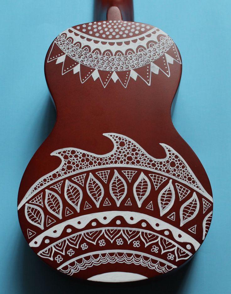 Zentangle-Inspired Hand-Painted Ukulele