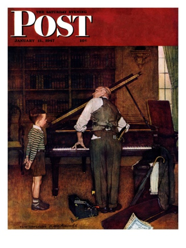 Piano Tuner Saturday Evening Post Cover, January 11,1947 Giclee Print by Norman Rockwell