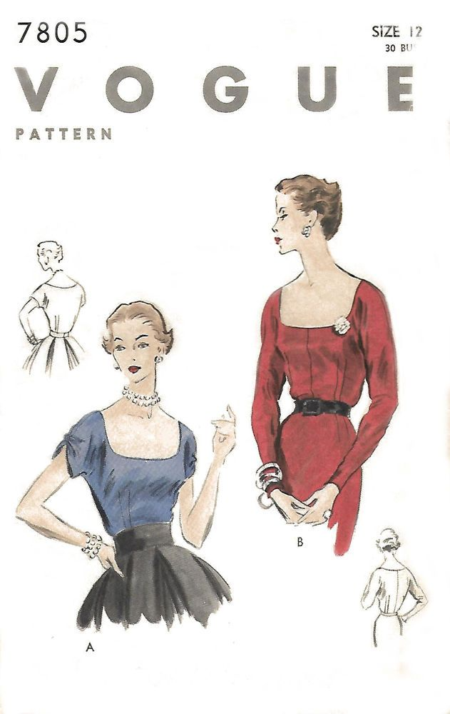 Vintage 1950's Sewing Pattern Low Cut Square Neckline Cocktail Blouse B 30""