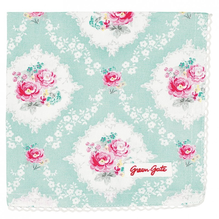 GreenGate Bread Basket Napkin Phoebe Mint 40 x 40 cm | Autumn/Winter 2013 | Originated-Webshop