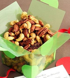 Homemade Food Gifts: Roasted Nut Snack Mix - Cocoa Sugared Mix, Curry