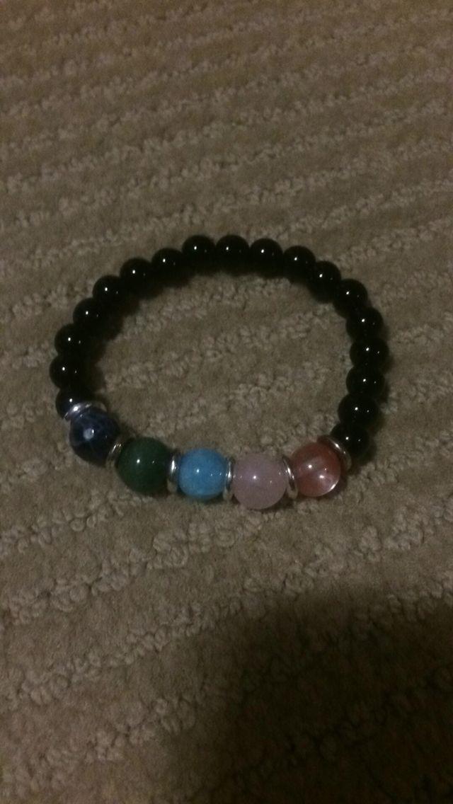 Agate and multi color gemstone Mala bracelet