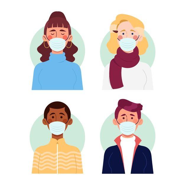 People Wearing Medical Mask Vector Free Pet Logo Design Illustration Character Design