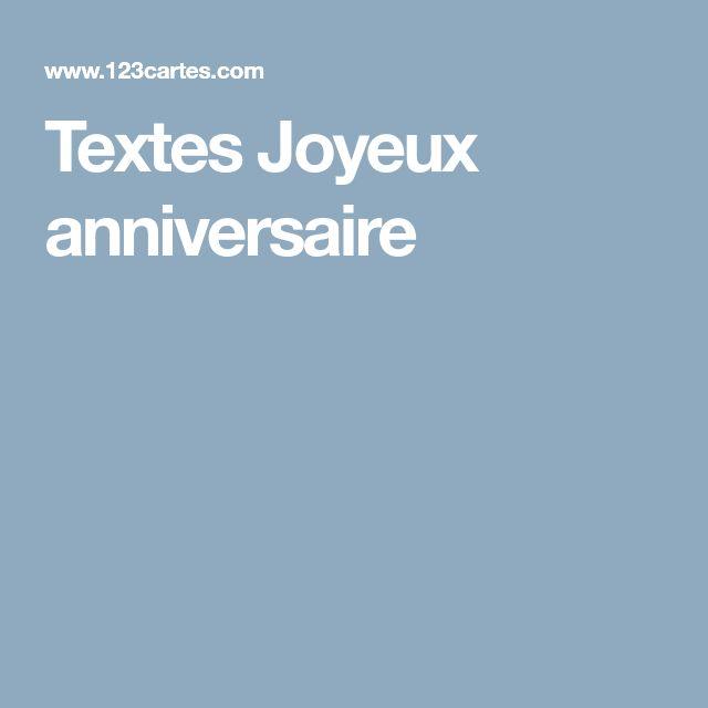Textes Joyeux anniversaire