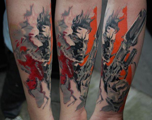 Metal Gear Solid Piece by Norbert Halasz - 60 Cool Sleeve Tattoo Designs  <3 <3