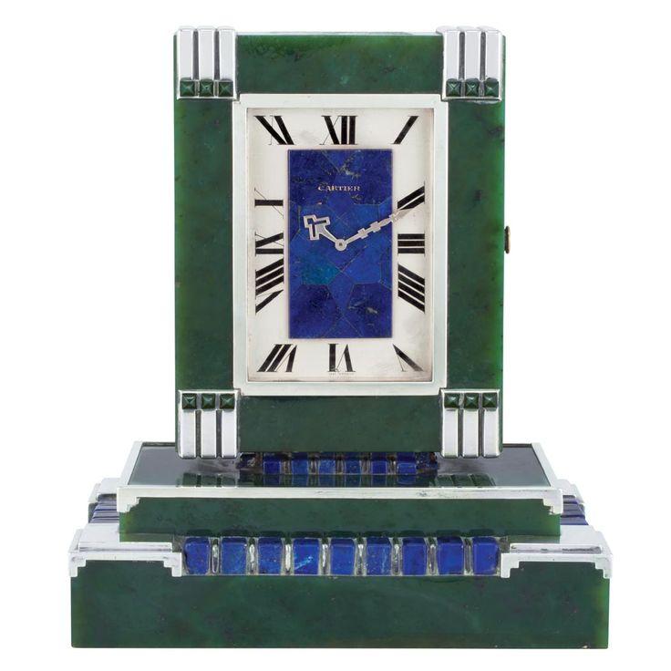 Art Deco Silver, Nephrite Jade and Lapis Dual Dial Partners Clock, Cartier, France
