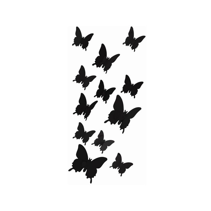 3D Schmetterlinge 12er Set Wandtattoo Wandsticker Wanddeko Wandaufkleber    Basic (schwarz) In Dekoration U2022