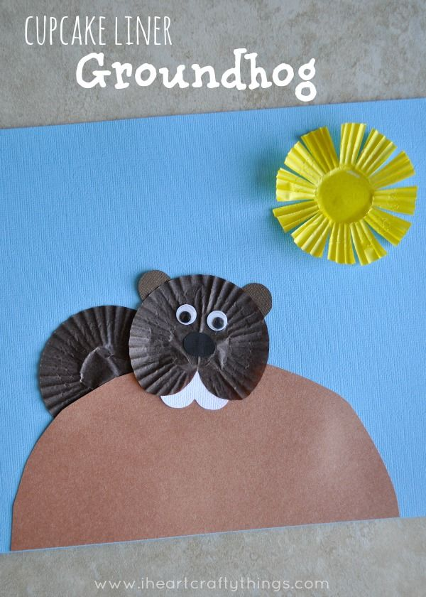 Cupcake Liner Groundhog Day Craft for kids. From iheartcrafythings.com