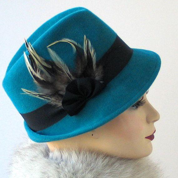 Teal hoed-Womens Hat - val Fashion - Turquoise Hat - Winter accessoires - hoed met veren - modevak - handgemaakte Hat - Trilby hoed - Gift voor haar