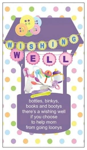 Actual Wishing Well Invite Insert Cute As A Button Baby Shower