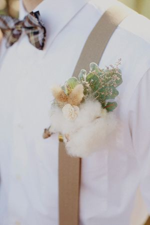Texas Wedding with Cotton Details (Fall, boutonniere, boys, honey, lavender, sage_green, summer, bow, ties, cotton, details, wedding, Red Oak) — Loverly