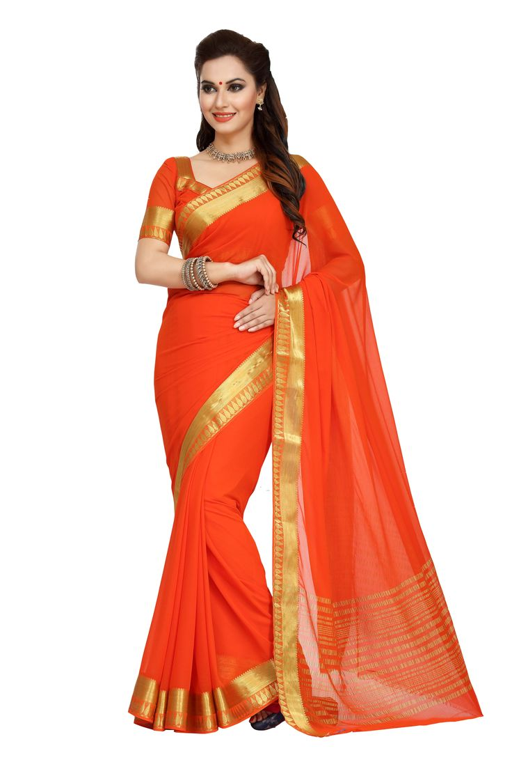 ORANGE CHIFFON SAREE WITH WEAVING WORK