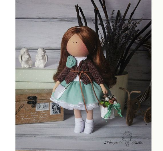 Hand made Soft doll, brown, green, Decor doll, Home, Art, Gift, for girl, baby, decoration, unique magic doll by Master Margarita Hilko