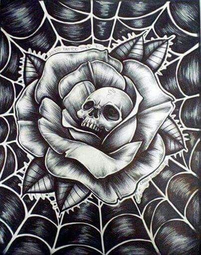 Skull flower in web