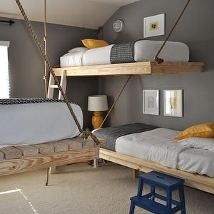 The Bumper Crop - boy's rooms - step ladder, yellow and gray rooms, gray and yellow rooms, yellow and gray boys rooms, gray and yellow boys ...