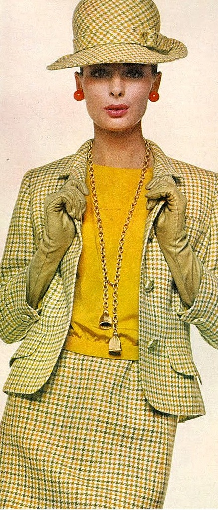 Camilla Sparv in a green and yellow Tattersall checked suit by Davidow, photo by Bert Stern, Vogue 1965