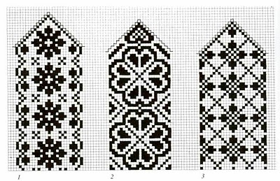 taken from a book of Norwegian mitten ornamentation.  six good charts could be used for beautiful bookmarks.  click on the charts for enlargements.  thanks much to the original pinner.