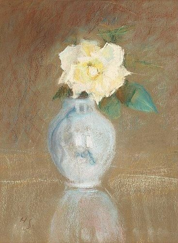 Helene Schjerfbeck - Roses in a vase, Pastel
