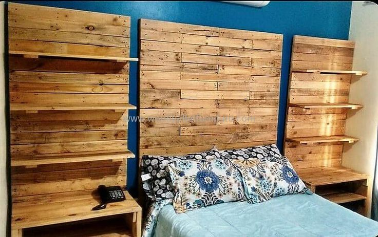 Wood pallets headboards are not a useful structure as shown in the picture given below as we can place different important products on its sides as well as it also gives a simple-looking bed a royal look with it's a beautiful structure. So let's retransform the beauty of your bedroom by creating this headboard structure for your bedroom.