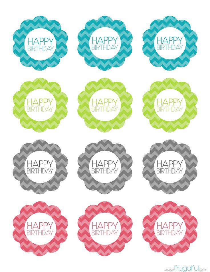 Free Printable Chevron Birthday Cupcake Topper cakepins.com