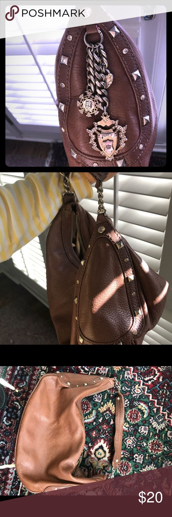 Juicy Couture brown leather bag Brown leather hobo, good used condition. Gold tone hardware with all stones intact. Any questions, just ask. Make me an offer! Everything needs to go! Juicy Couture Bags Hobos