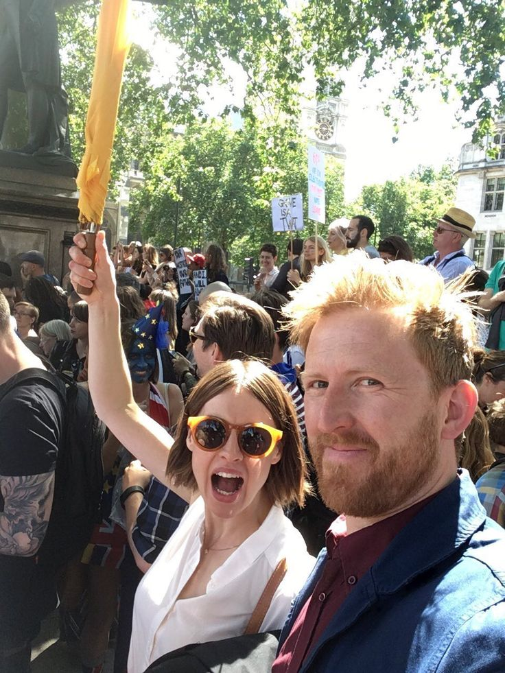 Jess's husband, the lovely Tom Goodman-Hill posted this photo of himself and Jess out and about in London today marching for Europe.  It's always really nice to see photos of Jess looking so happy.