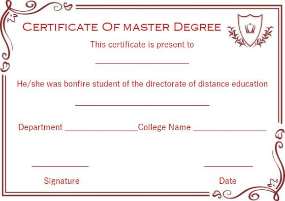 13 best Masters degree certificate template images on Pinterest