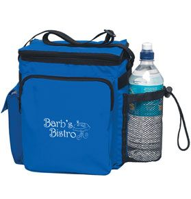 Keep your chill with this fun giveaway - the Tall 12-Pack Cooler! Customizable cooler features a zippered main compartment with 12-pack capacity and numerous pockets.