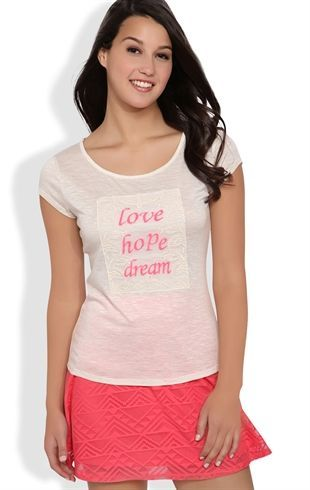 Deb Shops Short Sleeve Tee with #Love #Hope #Dream Patch $14.92