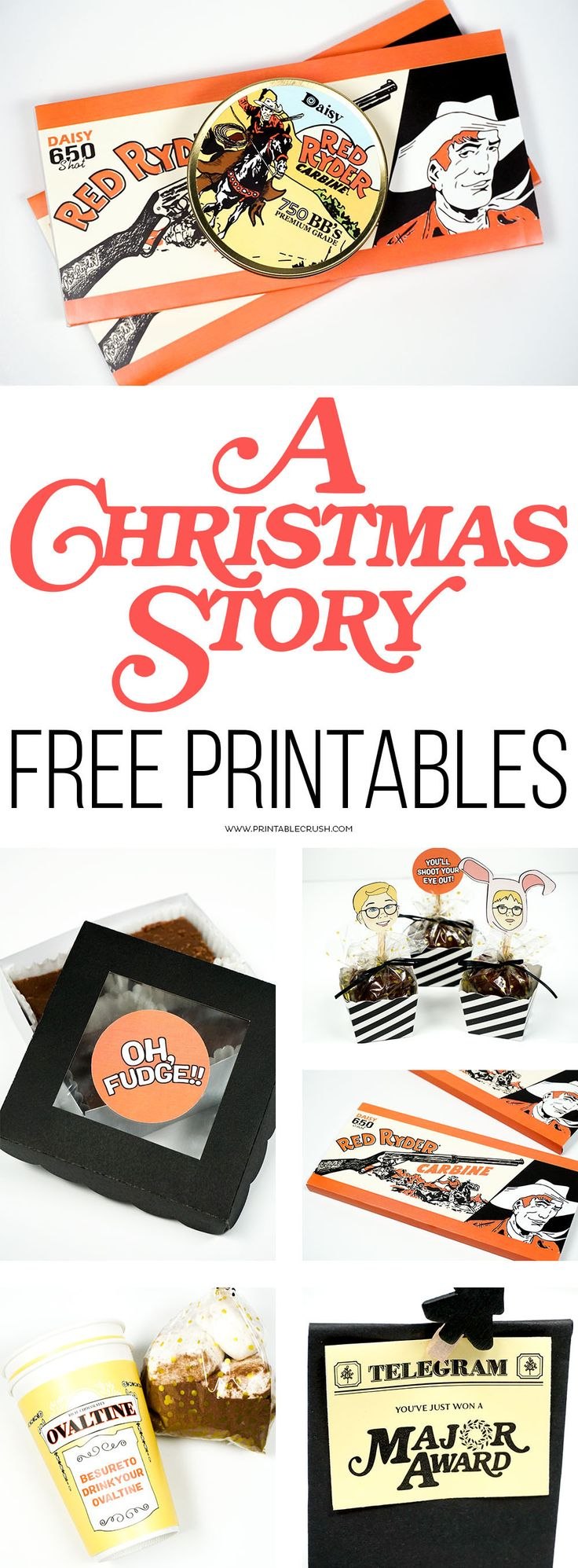 Download A Christmas Story FREE Printables to use at parties or for creative Christmas gifts. Includes 8 designs, with PDF and PNG versions for #Cricut use! #AChristmasStory #ChristmasPrintables
