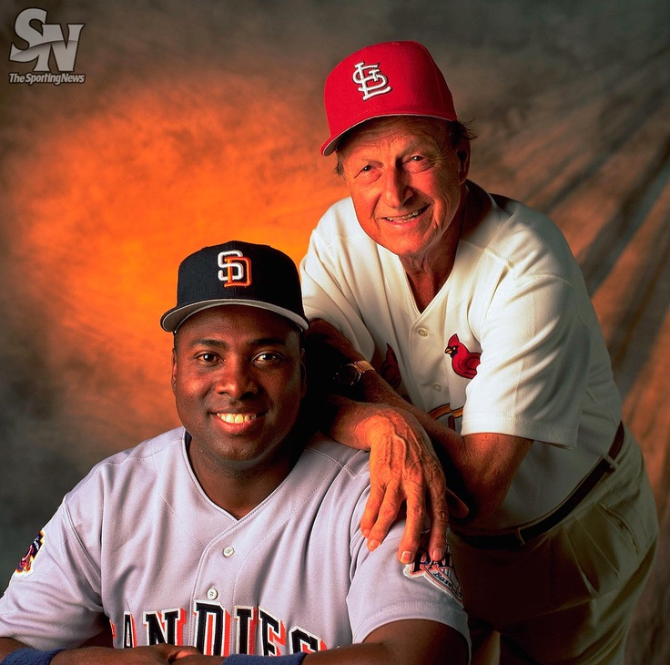 San Diego Padres Tony Gwynn and St. Louis Cardinals legend Stan Musial pose for a portrait on July 16, 1997 in St. Louis. (Albert Dickson/Sporting News) GALLERY: Rare photos of Stan Musial and Tony Gwynn talk baseball