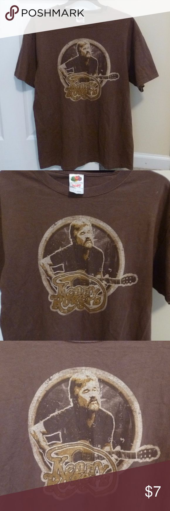 Vintage look Kenny Rogers T-shirt Show your love for classic country music and broasted chicken with this vintage style Kenny Rogers tee shirt.  Printed on a brown Fruit of the Loom heavy tee, it is in great condition, with the design showing some (intentional) distressing.  Men's size L. Kenny Rogers Shirts Tees - Short Sleeve