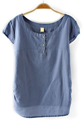 Blue Plain Buttons Short Sleeve T-Shirt