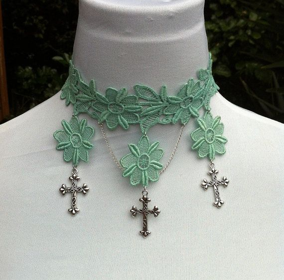 Turquoise lace choker with silver crosses by CindysAccessories, $25.00