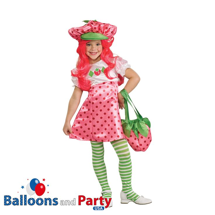 Childs Girls Deluxe Strawberry Shortcake Fancy Dress Party Costume