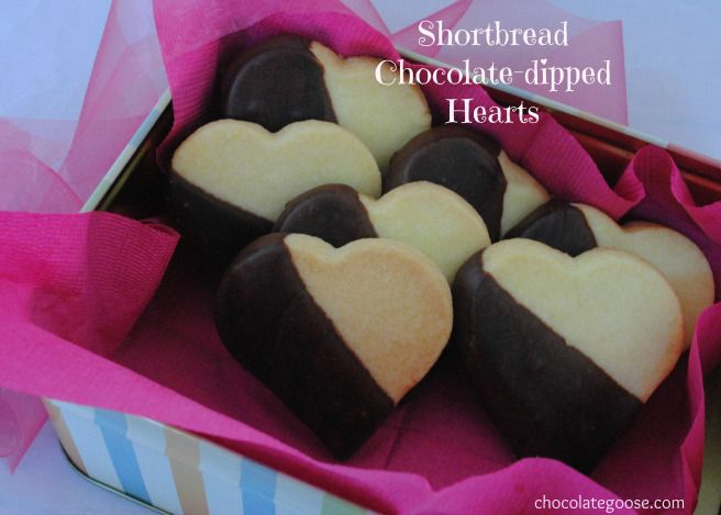 Shortbread chocolate-dipped hearts